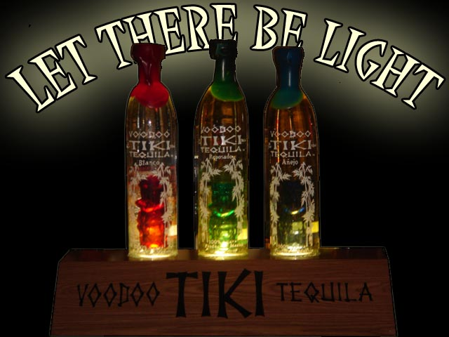 Voodoo Tiki Tequila Three Bottle Lighted Wood Box
